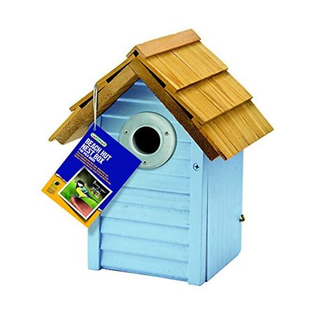 gardman fsc pine beach hut wild bird nest box light blue