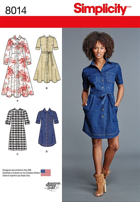 dress pattern of 2015 simplicity 8014 misses shirt dress sewing pattern