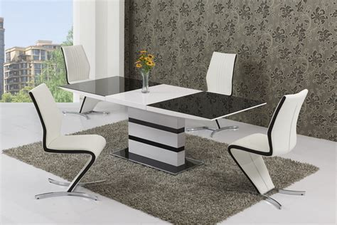 small glass white high gloss extendable dining table and 4