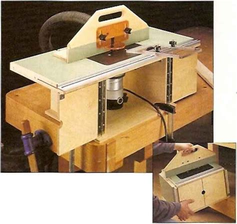 Foldaway Bench This Compact Router Table Has A Large Top With Wings That