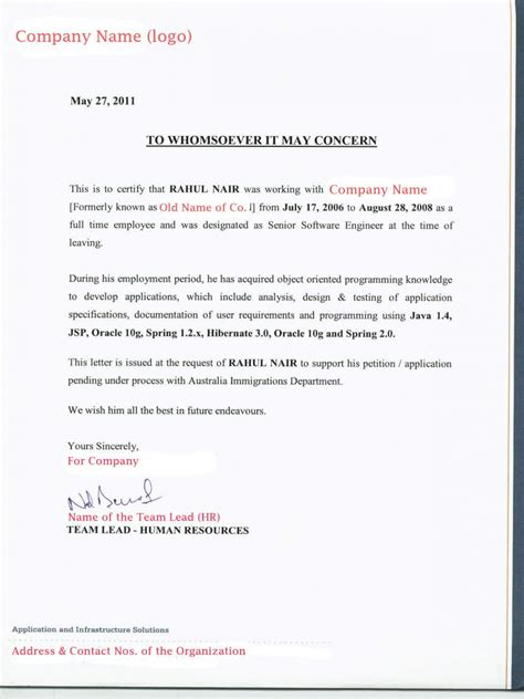 recommendation letter australia letter reference