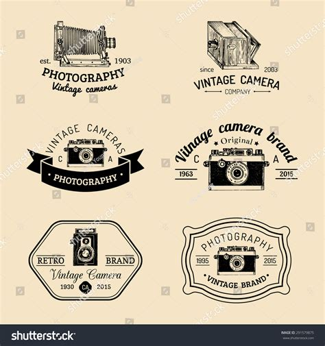 Vintage Tali Kamera Vintage All Type vector set of vintage logo sketched logotypes