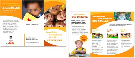 daycare brochure template child care brochure template 3 child care owner