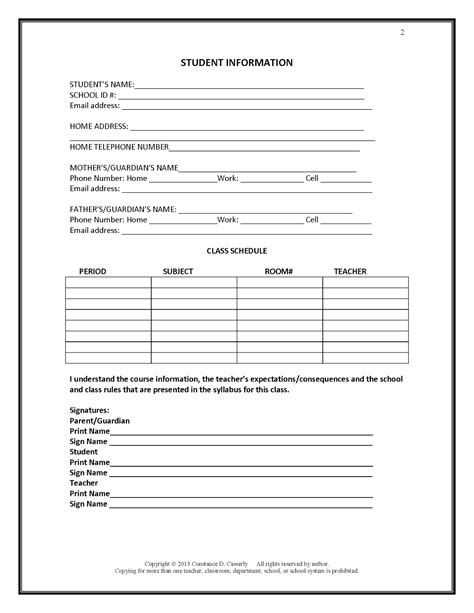 student information sheet template for teachers teach it write getting to you a s back to
