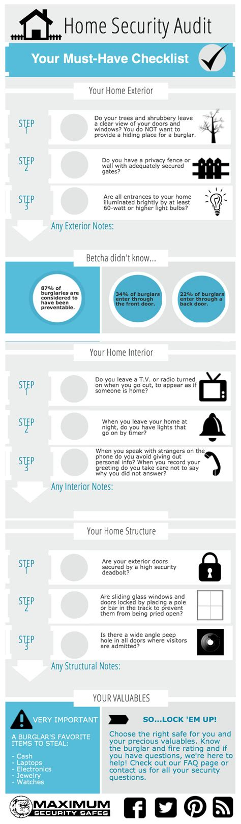home security audit checklist piktochart visual editor