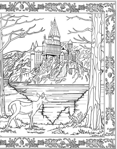 harry potter coloring books paisaje de hogwarts parte 2 de 2 harry potter coloring