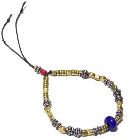 silver bronze lapis bead s bracelet