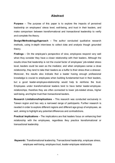 transformational leadership research paper transformational leadership research paper research paper