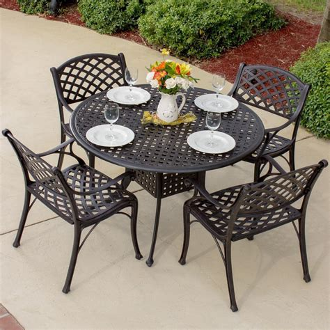 Heritage 5 Piece Cast Aluminum Patio Dining Set With Round