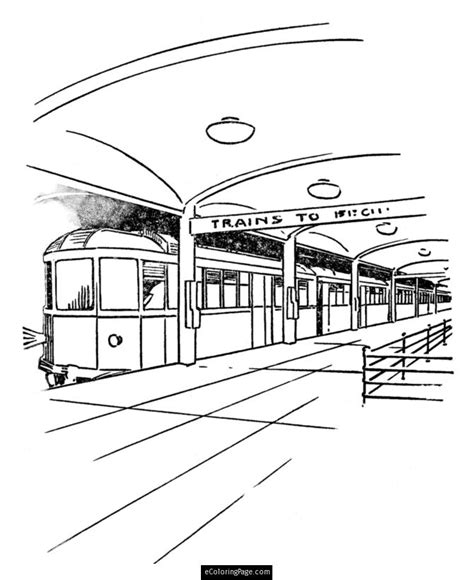 coloring page of a train station free coloring pages train and train station printable