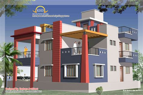 Plan Floor Design by Duplex House Plan And Elevation 2349 Sq Ft Indian