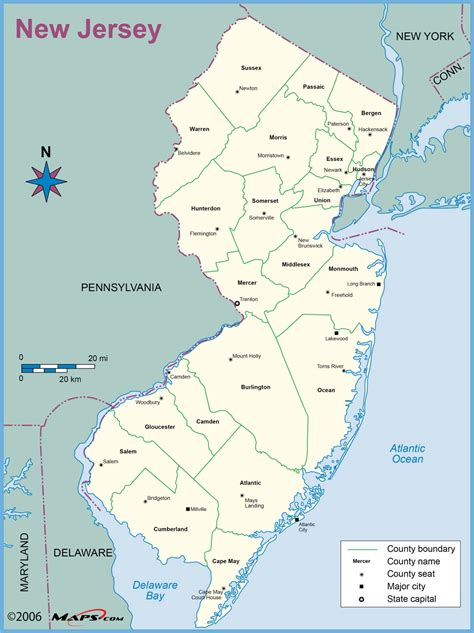 map usa new jersey new jersey county outline wall map maps