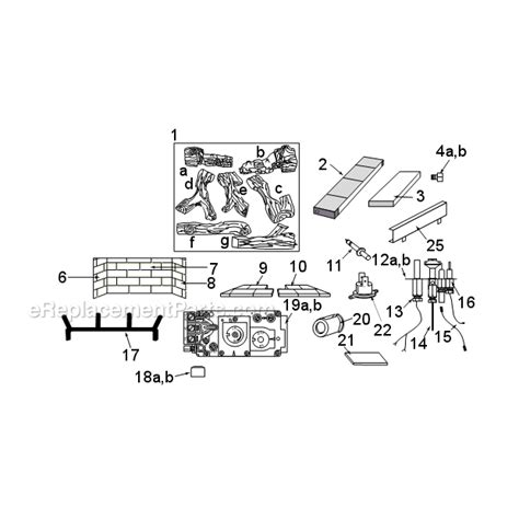 majestic gas fireplace parts majestic odgsr42a parts list and diagram