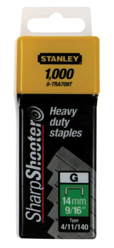 Stanley Sharpshooter Staples Tra705t 8 Mm stanley sharpshooter heavy duty 10mm 3 8in type g staples 1 tra706t pack of 1000 ebuyer