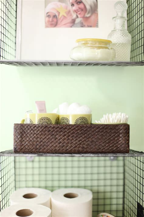 Try this hanging baskets for bathroom storage a beautiful mess
