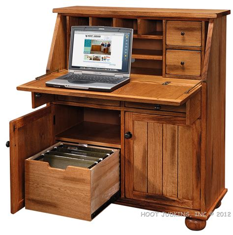 Hoot Judkins Sedona Rustic Oak Wood Drop Lid Laptop Desk Rustic Computer Armoire