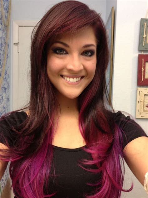 pink highlight on the end tween 25 magenta hair ideas to stand out styleoholic