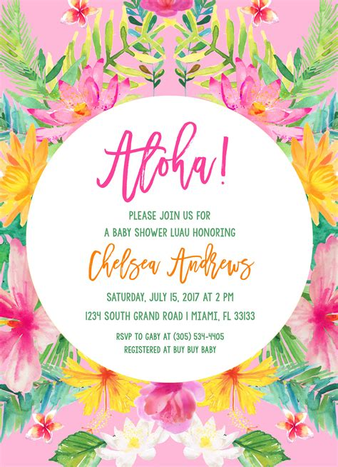 hawaiian design invitation tropical baby shower invitation luau baby shower