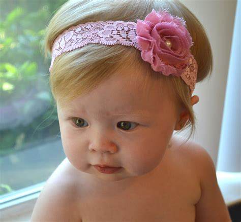 baby headband pink flower pink lace infant headbands baby
