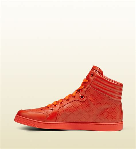 Shoes Gucci D2531 1 lyst gucci diamante leather high top sneaker in orange