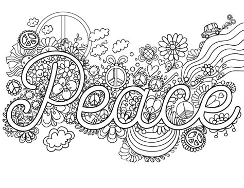 color for peace peace coloring page