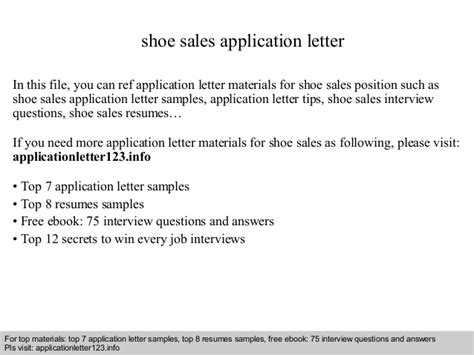 application letter for staff sle shoe sales application letter