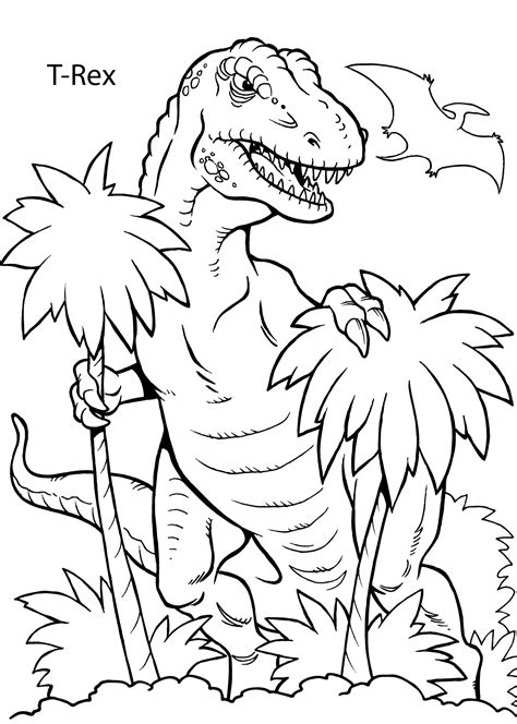 coloring page free printable t rex dinosaur coloring pages for kids printable free