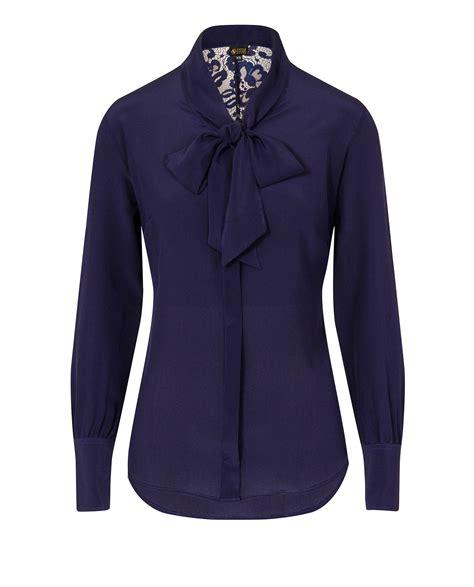 Blouse Navy silk bow blouse navy blue cameron davies