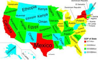 the united states in the world map how do the economies of alabama other us states compare