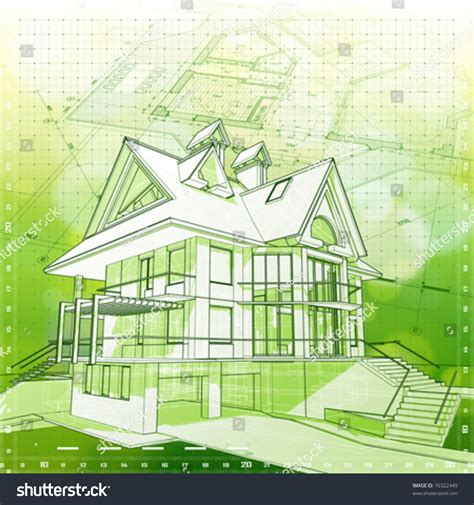 Green Architecture House Plans by Ecology Architecture Design House Plans Green Stock Vector