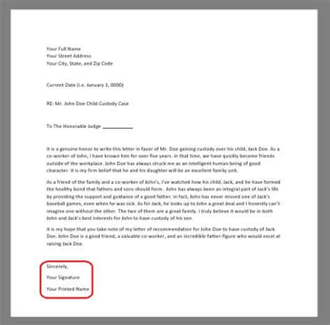 character reference letter  court template samples  word eforms