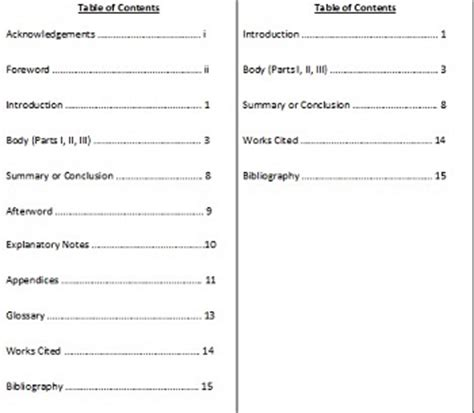 mla format table of contents template search results for table of contents page mla format