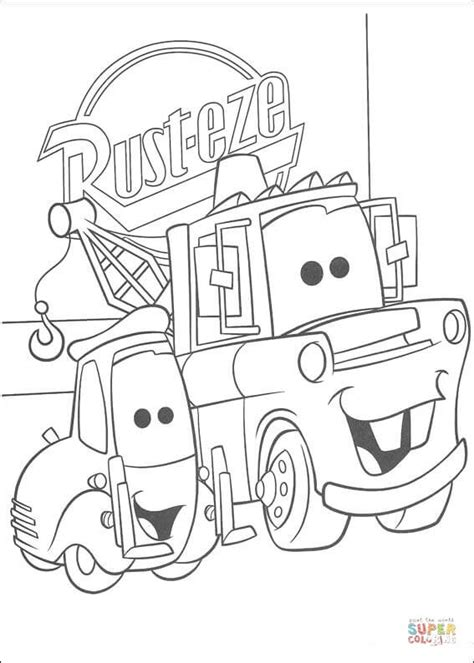 Rust Eze Logo Behind Mater Coloring Page Free Printable Mater Cars Coloring Page 01