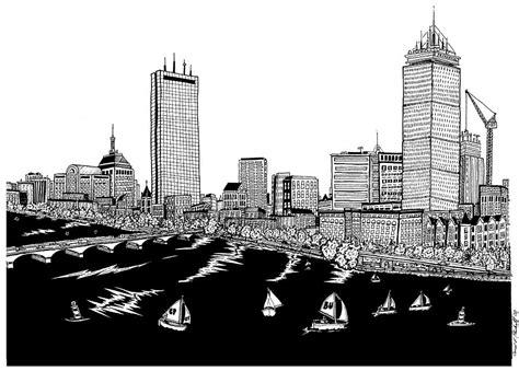 boston skyline back bay drawing by conor plunkett