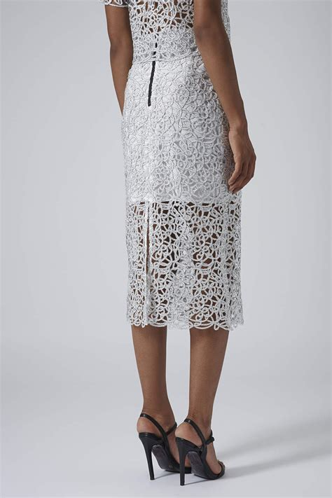 Limited Knee Mitzuda 231 Terlaris topshop limited edition silver cornelli pencil skirt in metallic lyst