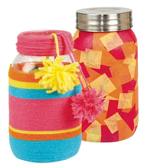 Tissue Paper Decoupage Ideas - decoupage tissue paper jar and yarn wrapped jar joann