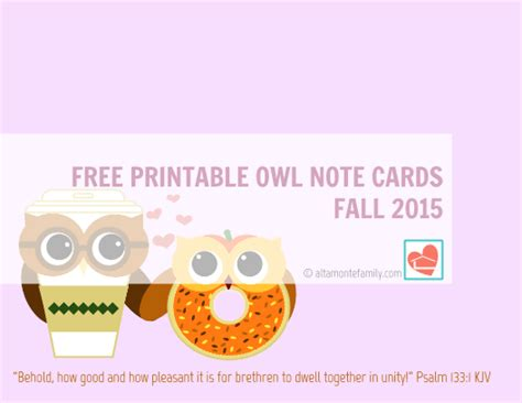 free printable owl note cards free printable owl note cards fall 2015 altamonte family