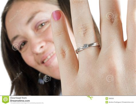 Beautiful Girl Wearing An Engagement Ring Stock Photo