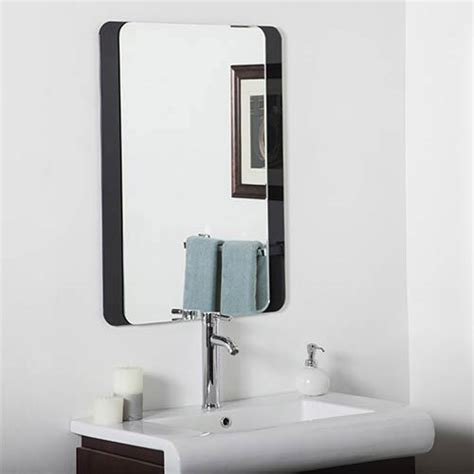 bevelled bathroom mirror skel rectangular beveled frameless bathroom mirror decor