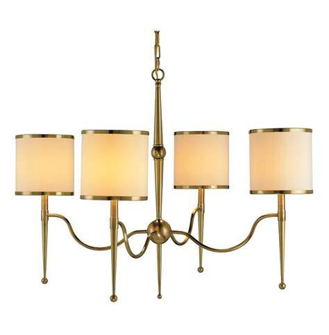 Modern Chandelier Shades Primo Mid Century Modern Brass Shade 4 Light Chandelier Kathy Kuo Home
