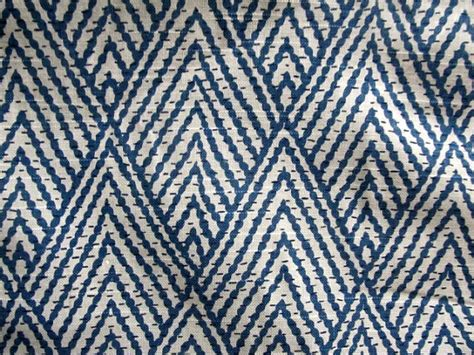 blue pattern curtain fabric tahitian stitch sapphire ikat blue designer
