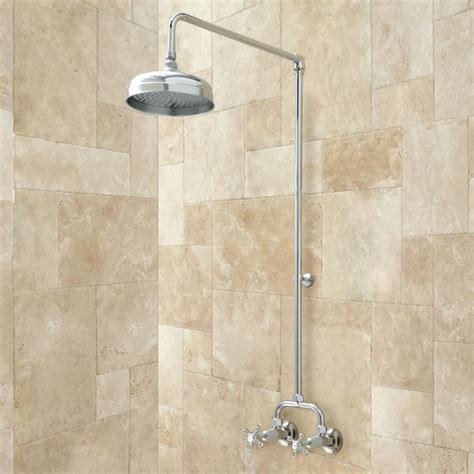 Shower Wall Mount baudette exposed pipe wall mount shower with rainfall