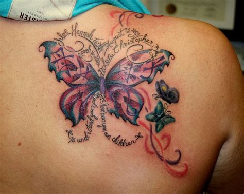 butterfly memorial tattoo 12 memorial tattoos on back shoulders