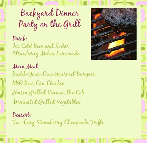backyard party menu backyard party menu easy outdoor furniture design and ideas
