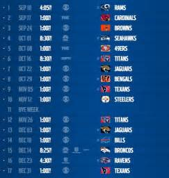 2017 nfl schedule release indianapolis colts 2017 schedule release games dates and