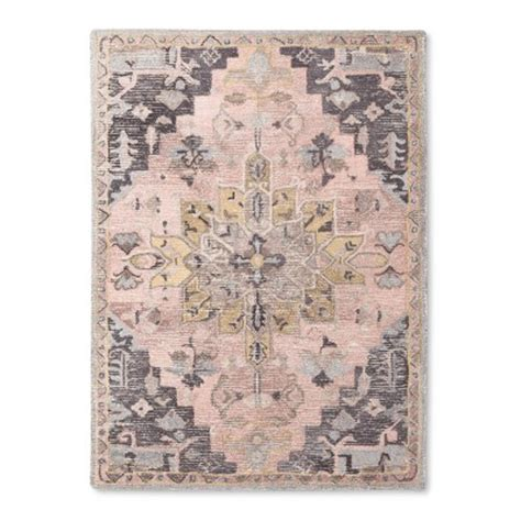 pink and grey area rug pink gray vintage wool tufted area rug threshold target