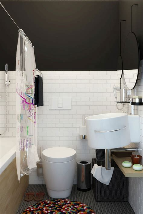 compact bathroom tiny apartment in black and white charms with space saving design