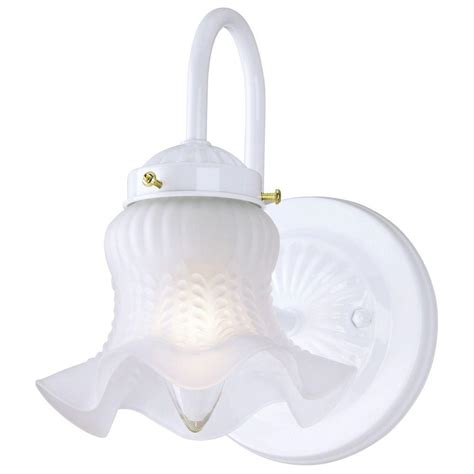 Home Depot Interior Light Fixtures Westinghouse 1 Light White Interior Wall Fixture With Frosted Ruffled Edge Glass 6637500 The