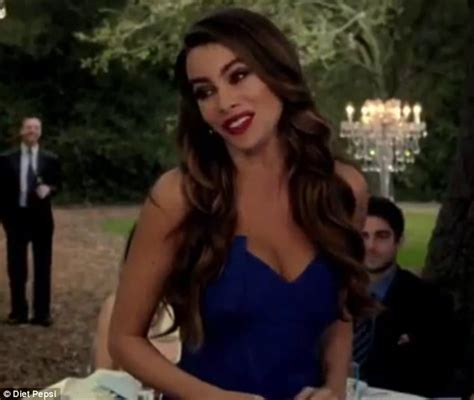 pepsi commercial larry actress sofia vergara wears slinky low cut dress to crash a