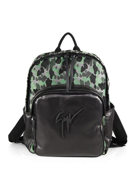 giuseppe zanotti camo print leather backpack in green for